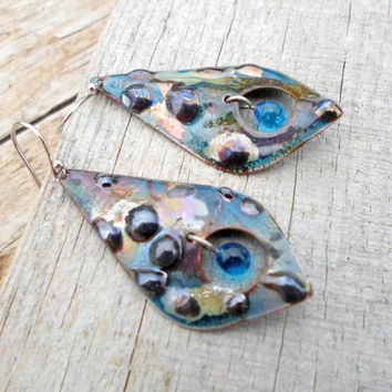 Enameled Copper Brass Earrings, Natural Earth and Sea Colors, Mixed Media Artisan Handmade Jewelry for Her