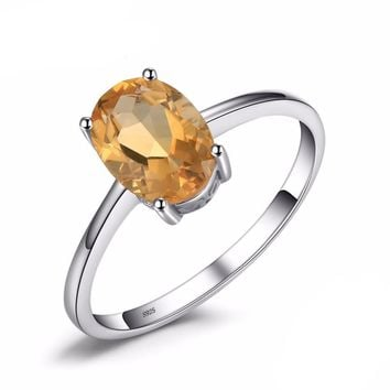 Oval 1.1ct natural yellow Citrine birthstone solitaire women's ring genuine 925 sterling silver jewelry
