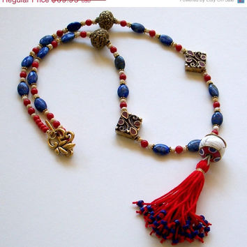 ON SALE Tibetan Tassel Necklace in Coral & Lapis, Tibetan Jewelry, Tribal Jewelry, Lapis Lazuli Coral Jewelry, Boho ,Tassel Pendant Necklace