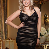 Plus Size After Dark Allover Ruched Club Dress