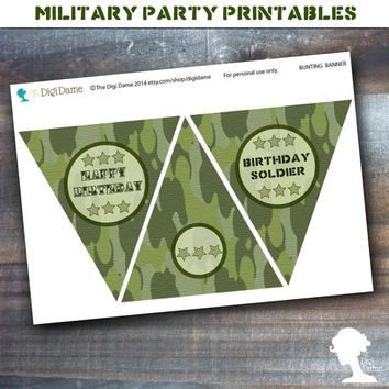 Party Printable Military Army Soldier Boot Camp Birthday Pennant Bunting in Green Camouflage