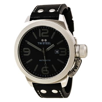TW Steel TWA201 Men's Canteen Automatic Black Dial Black Leather Strap Watch