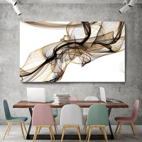 """Freezing a moment 17. New Media Pale Brown Yellow Abstract Art, Extra Large Abstract Contemporary Canvas Art Print up to 72"""" by Irena Orlov"""