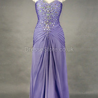 Sheath/Column Sweetheart Chiffon Floor-length Lilac Crystal Evening Dress at dressestore.co.uk