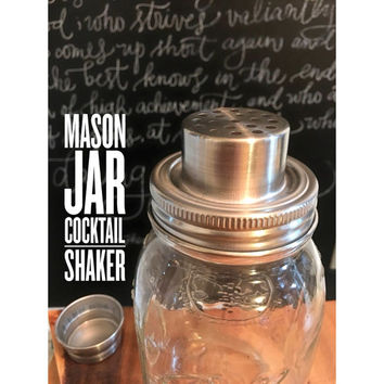 Mason Jar Cocktail Shaker, Glass Mason Jar Cocktail Shaker, Vintage Cocktail Shaker, Martini Shaker, Ball Mason Jar Shaker