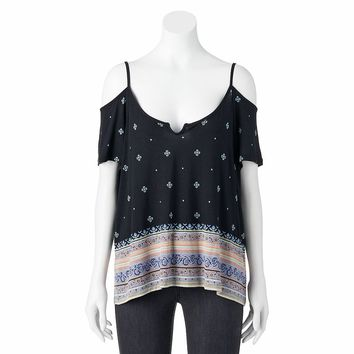 Mudd Print Cold-Shoulder Top