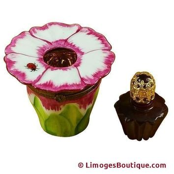 PINK FLOWER W/PERFUME BOTTLE LIMOGES BOX
