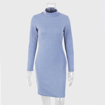 Toplook Blue Knitted Vintage Dress  Women's Autumn and Winter Bodycon vestidos Long Sleeve Turtleneck Fitness Dresses