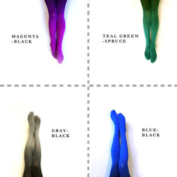 Ombre Tights gradient tights // PLUS SIZE.  Hand dyed.