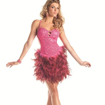 Bewicked  Hot Pink 1-Piece Sequin Feather Dress BW1298HP