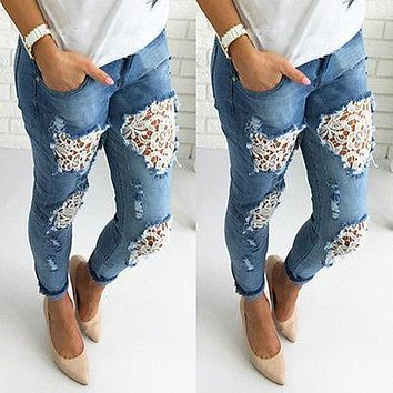 Women Destroyed Ripped Distressed Slim Denim Pants Boyfriend Lace Jeans Trousers