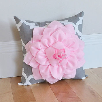 Decorative Flower Pillow Light Pink Dahlia on Gray and White Moroccan Accent Pillow Couch Bed Sofa Pink and Gray Nursery Pillow