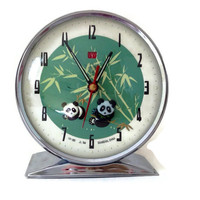 Vintage Alarm Clock-Chinese-Chrome and Enamel Metal-Panda Bears Face-Non Working-Home Decor-Retro Clock-Shanghai Made-Bamboo-Asian Decor
