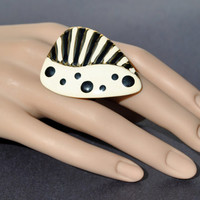 Statement ring black white dots and stripes made from vintage jewelry my unique design