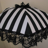 VICTORIAN PARASOL in Black and Pure White Stripe Fabric Embellished with a Black Lace Ruffle