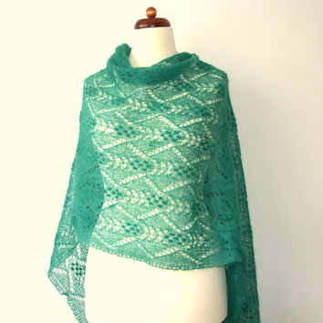 green lace shawl, oversize knit scarf, handknit mohair wrap