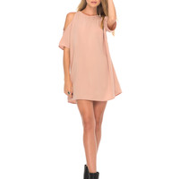Savannah Cold Shoulder Dress in Blush by Motel