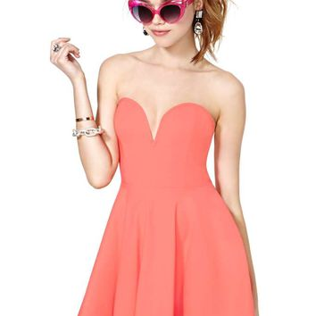 Nasty Gal Sweetheart Skater Dress - Coral