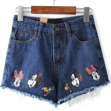 Navy Ripped Fringed Mickey Print Denim Shorts