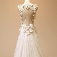 Vintage Chiffon Beach Wedding Dress Bridal Gown Deep by wonderxue