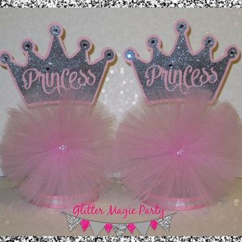 Princess Centerpieces, Silver Crown, Pink Tutu - SET OF 2 - MADE TO ORDER