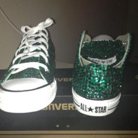 Converse All Stars : Emerald Green Swarovski Crystal Converse All Star Shoes