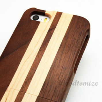 iPhone 5C 5S 5 wood case, iPhone 4 4s wooden case, Real Genuine Natural Walnut and Maple Wood, fashion stripes, FREE screen protector