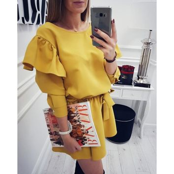2018 Summer Women Fashion Vintage Dress O-neck Ruffles Sleeves dresses Party Long sleeve female Vestidos