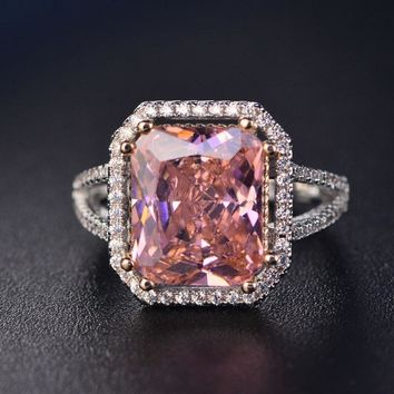 Fashion Pink Spinel Finger Rings For Women Romantic Gemstone Wed 608cb1ab09e2