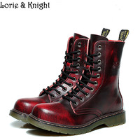 British Retro Cowhide Genuine Leather Martin Ankle Boots Military Lace Up Men Boots Steampunk Shoes