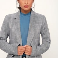 It's the Biz Black and White Glen Plaid Blazer
