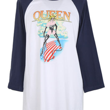 Queen Navy Long Sleeve Ringer Tee - L | T-Shirts & Vests | Rokit Vintage Clothing