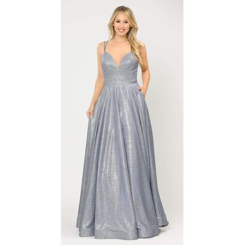 Royal Blue/Silver Long Prom Dress with Criss-Cross Back