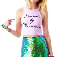 MYVL Raised By Mermaids Crop Tank Light Pink