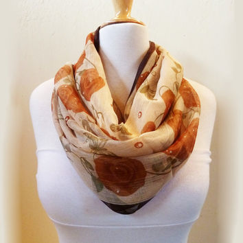 Chiffon loop scarf CREAM BEIGE RED patterned - infinity - necklace scarf cowl