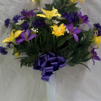 Tiger Lily Cemetery Vase with Purple/Lavender/Yellow Flowers - 28 Inch