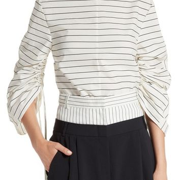 Tibi Sculpted Sleeve Stripe Poplin Top | Nordstrom
