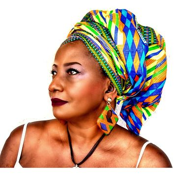African Kente Print Headwrap The Kru