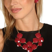 Sale-burgundy Epoxy Cluster Necklace Set