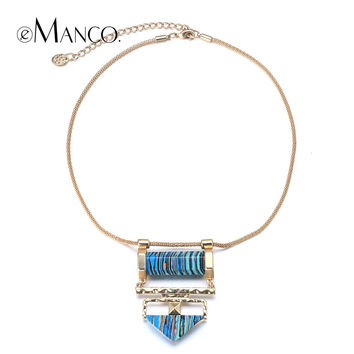 Natural stone necklace gold snake chain choker necklace 2015 brief style women blue stone pendant statement necklaces eManco