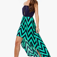 A'GACI Blouson Zig Zag Hi Lo Dress - DRESSES