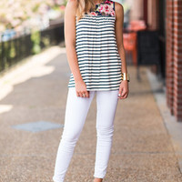 Well Timed Tank, Cream-Navy