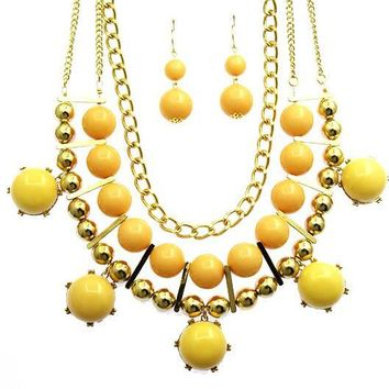 Lucite Stone Chunky Link Necklace Set