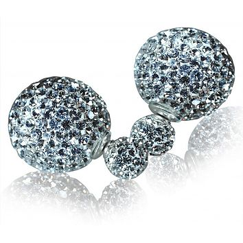 Candra Double Crystal Ball Earrings, 925 Sterling Silver