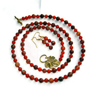 Autumn Dark Orange Crackled Agate Necklace and Earring Set