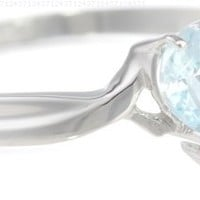 10k White Gold Aquamarine and Diamond Heart Ring (0.02 cttw, I-J Color, I1 Clarity)