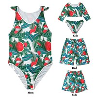 Family Matching Swimwear Floral Mother Daughter Matching Swimsuits Father Mother Swimsuit Swimming Beachwear Brazilian Bikini