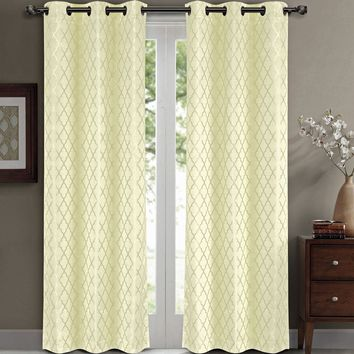 Ivory Willow Blackout Window Curtain Panels (Two Panels )