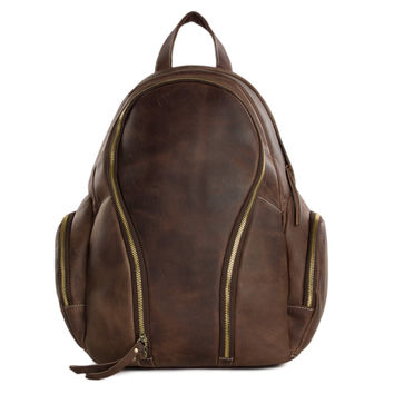 Barcelona Vintage Leather Backpack in Coffee Brown
