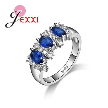 JEXXI Powerful Oval Shape Orange Crystal Anniversary Rings For Women S925 Silver Engagement Ring High Quality Bague Femme